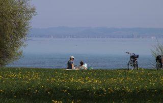 Descansando en el campo al lado de unas bicicletas